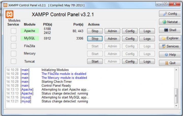 XAMPP Control Panel Apache & MySQL started