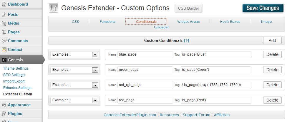Conditional Menu - Extender Conditionals page