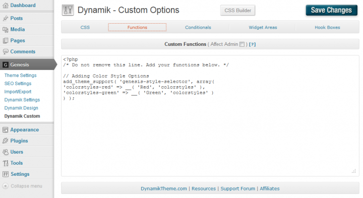 Functions.php of the Dynamik Website Builder