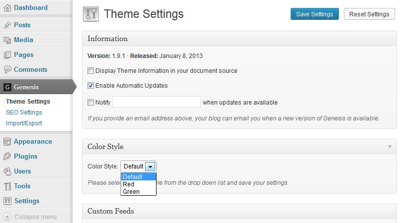 StudioPress Sample ColorStyles