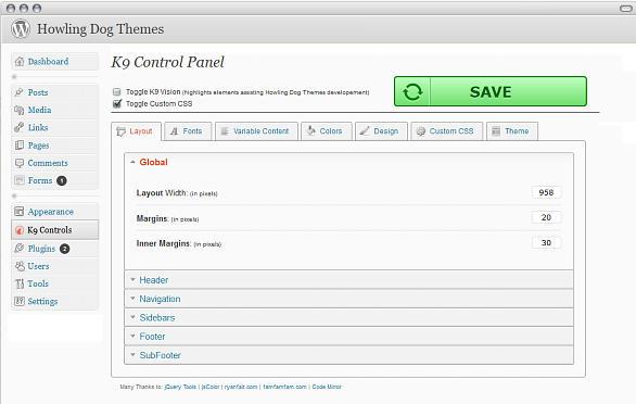 Howlng Dog Theme Framework K9 Control Panel