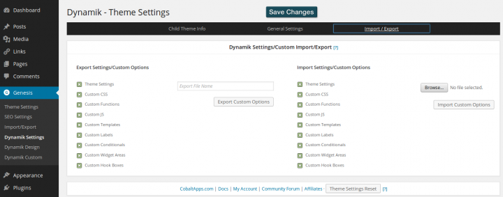 Dynamik Website Builder 1.7 - Settings - Import Export