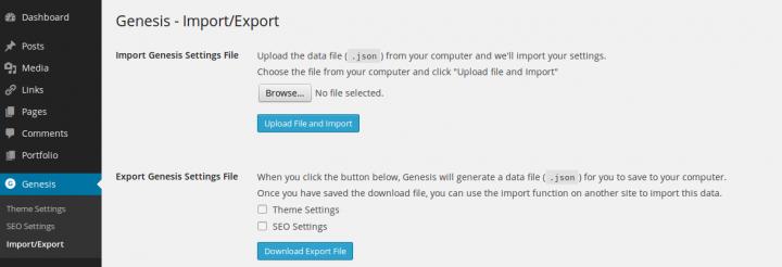 Genesis Framework Import Export