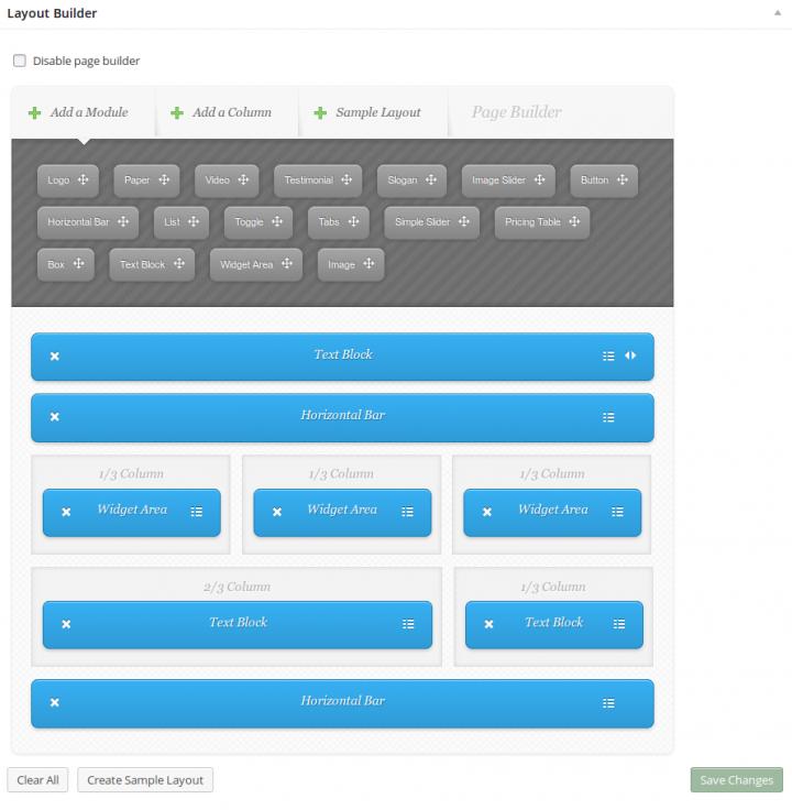 ElegantBuilder Homepage Backend Page Builder
