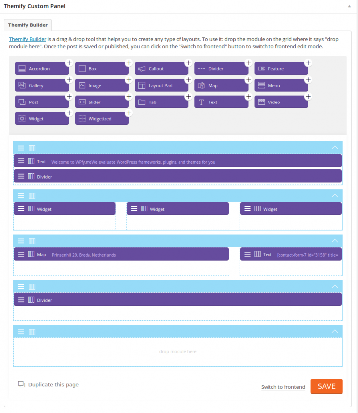 Themify Builder Homepage Backend