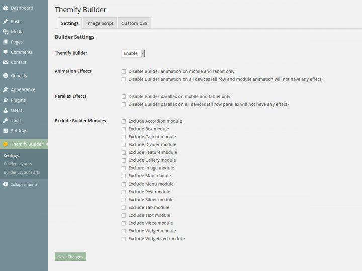 Themify Builder Settings page