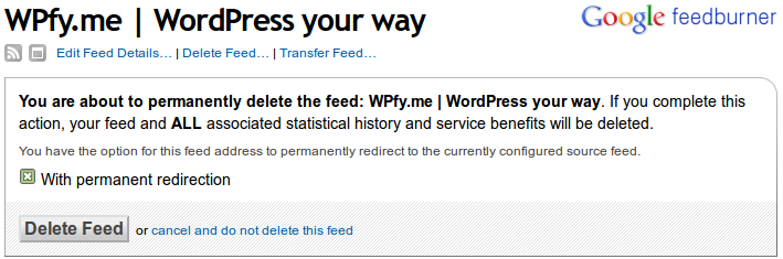 FeedBurner WPfy.me Reclaim your feed