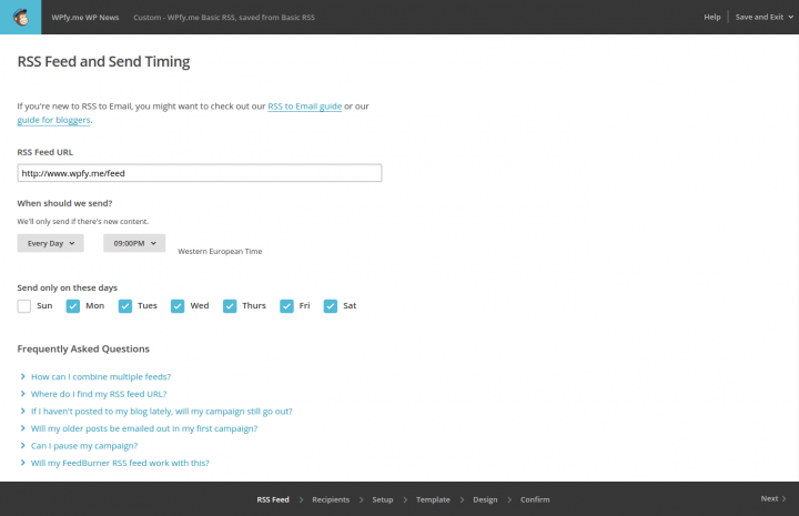 Create a MailChimp RSS Feed Campaign