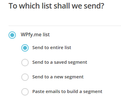 Select MailChimp Campaign List