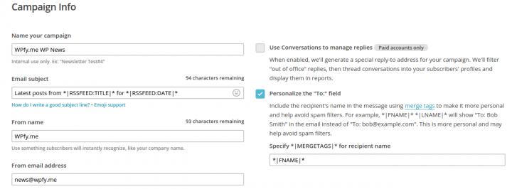 Setup your MailChimp Campaign