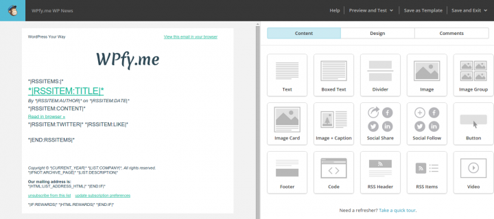 Alter the Design of the MailChimp Template
