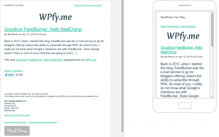 E-mail and Mobile Previews of the MailChimp Campaign