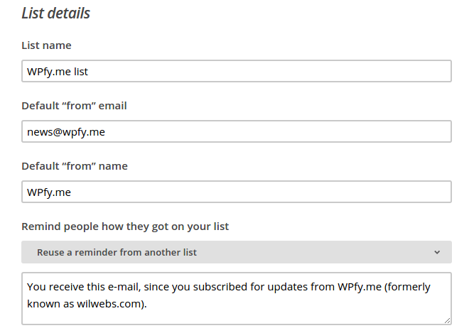 Creating a MailChimp list