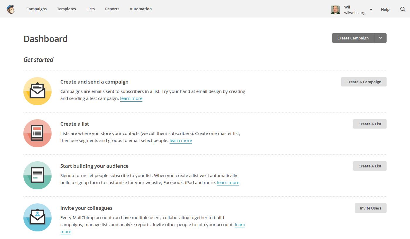 Image result for mailchimp dashboard