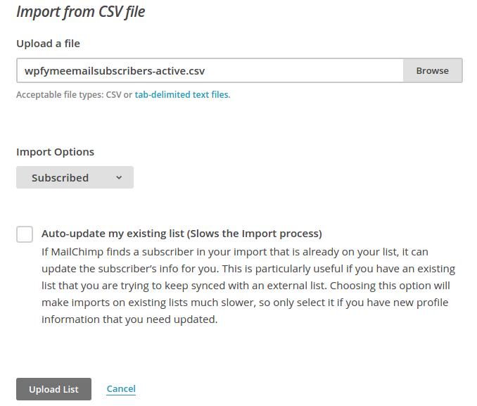 MailChimp WPfy.me upload list