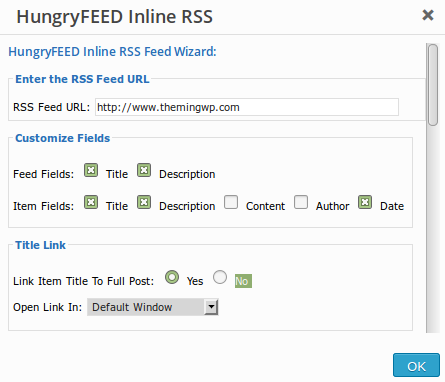 HungryFEED dialog window